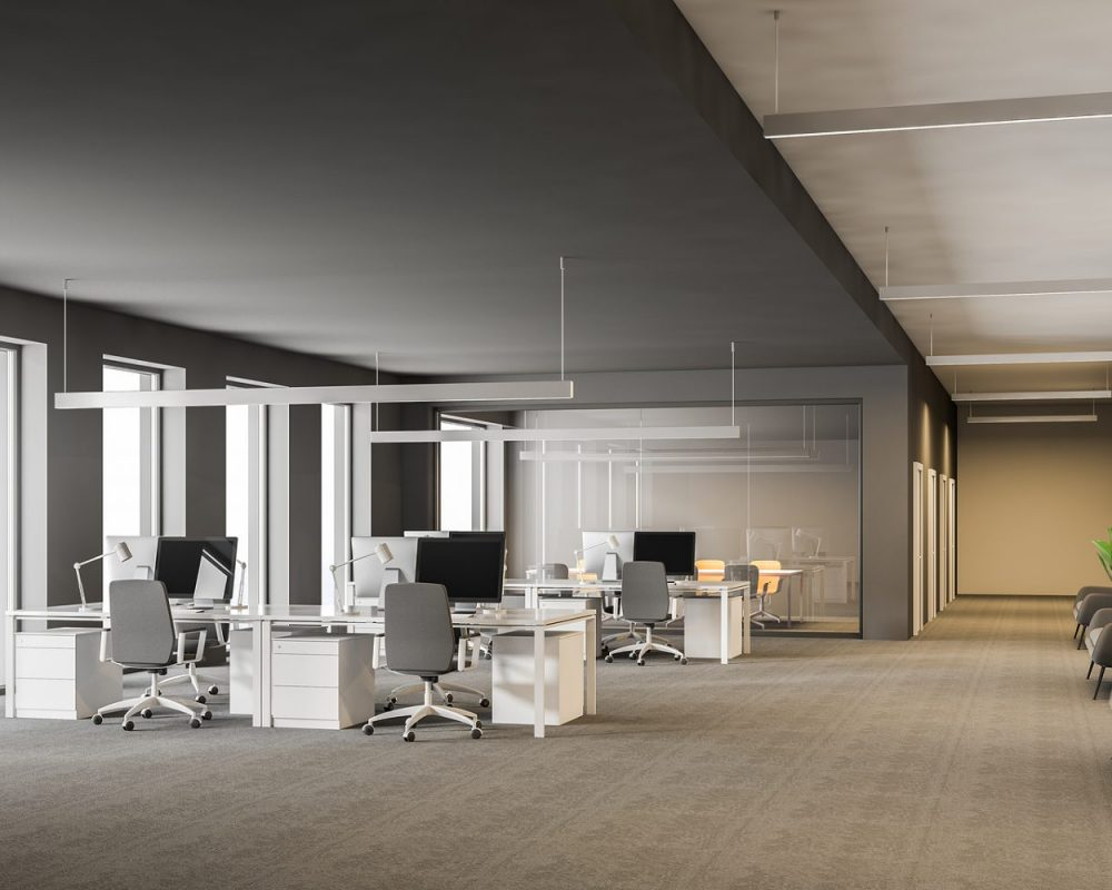 Modern Grey Office Interior With Rows Of White Computer Desks An